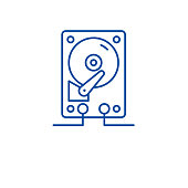 Hdd storage line icon concept. Hdd storage flat  vector symbol, sign, outline illustration.
