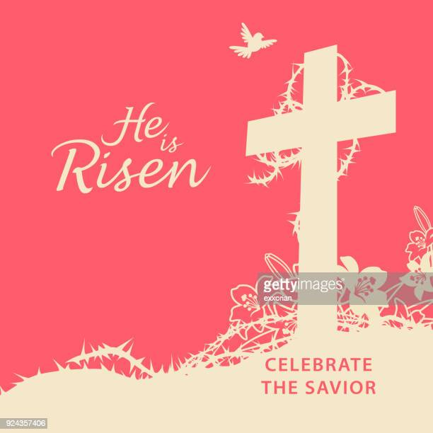 he is risen celebrate the savior - holy week stock illustrations, clip art, cartoons, & icons