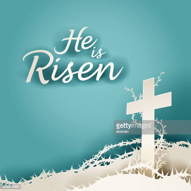 he is risen resurrection - holy week stock illustrations, clip art, cartoons, & icons