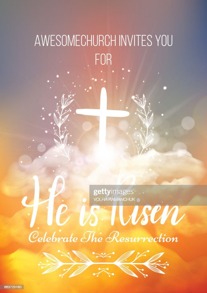 He is risen, vector Easter religious poster template