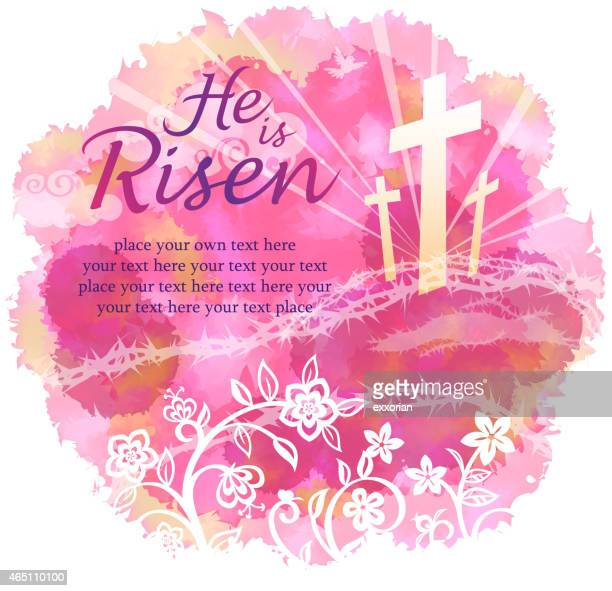 he is risen - the crucifixion stock illustrations, clip art, cartoons, & icons