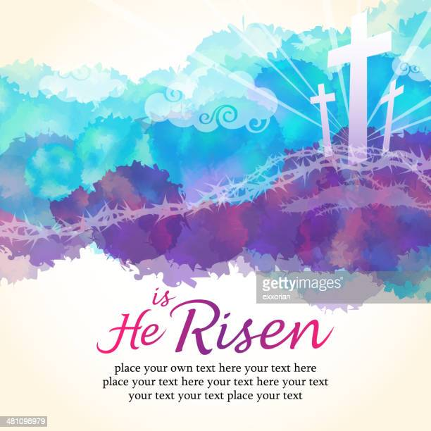he is risen - christianity stock illustrations