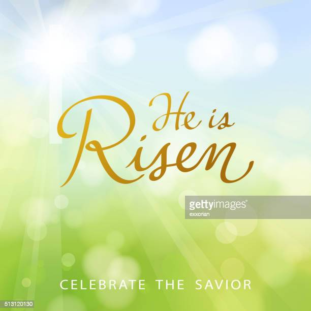 he is risen - easter religious stock illustrations