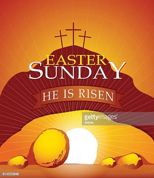 he is risen - empty tomb jesus stock illustrations