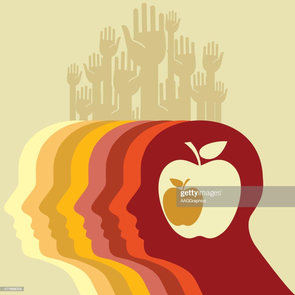 Head and apple