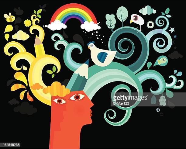 head and imagination - human brain stock illustrations, clip art, cartoons, & icons