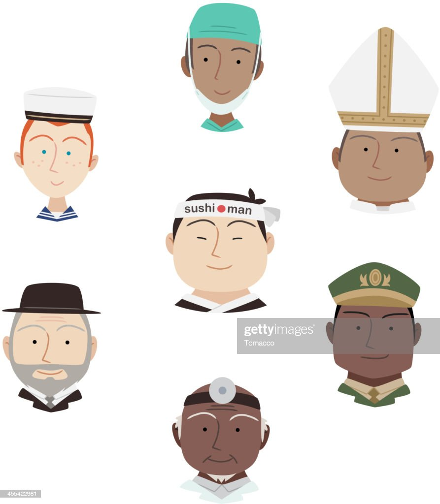 Head and Shoulder Professional people Avatar Profile Characters Cartoon Vectors