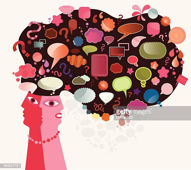 head and thoughts in speech bubbles shapes - sociology stock illustrations, clip art, cartoons, & icons