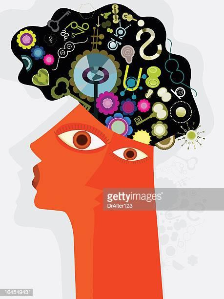 illustrations, cliparts, dessins animés et icônes de tête et pensées - cubisme
