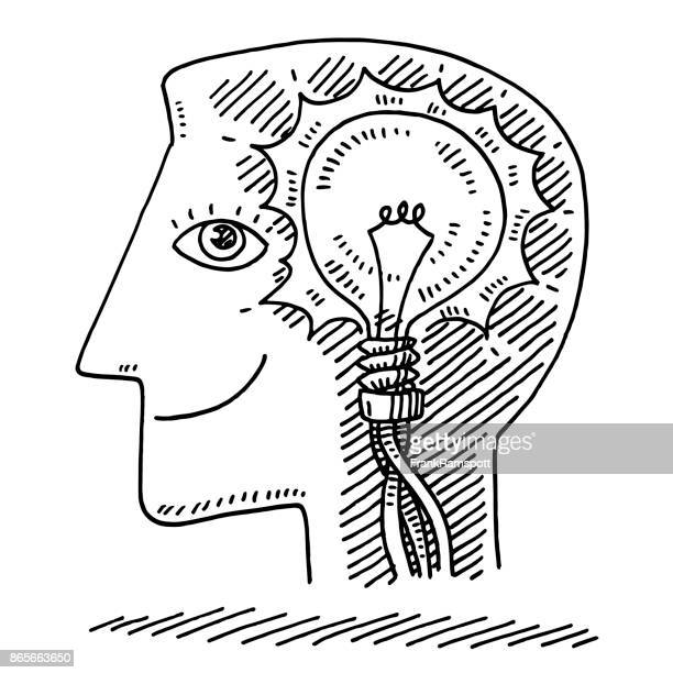 head delighted face idea lightbulb drawing - pen and ink stock illustrations