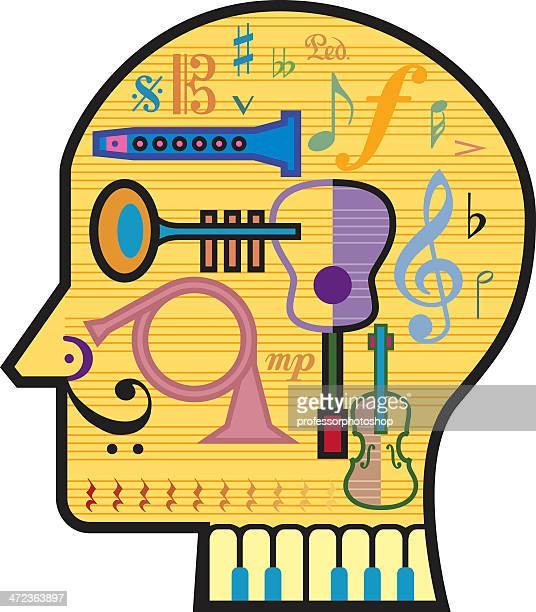 head for music - treble clef stock illustrations, clip art, cartoons, & icons