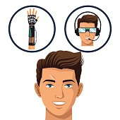 head gamer think glasses and wired glove virtual technology