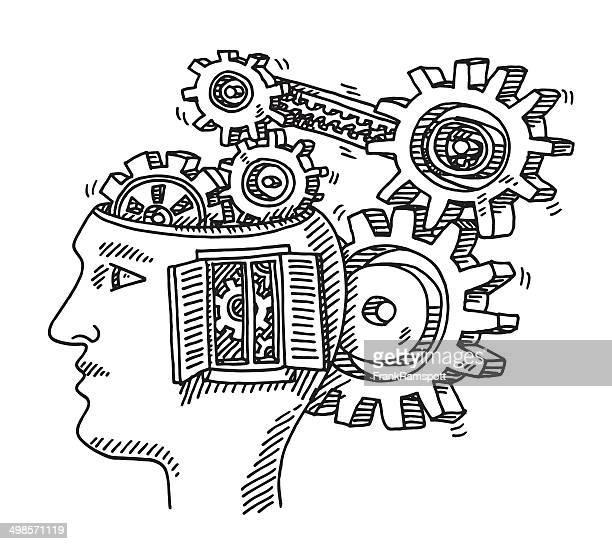 head fenster zeichnung getriebe - ausgemalte federzeichnung stock-grafiken, -clipart, -cartoons und -symbole