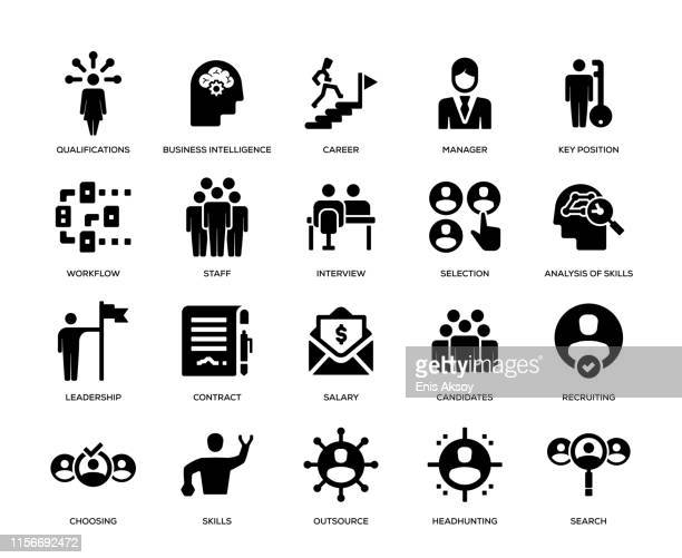 head hunting and recruiting icon set - employee stock illustrations