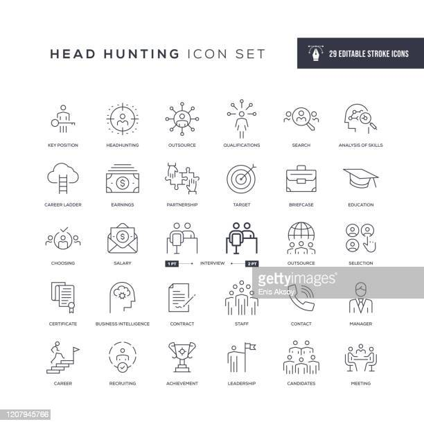illustrazioni stock, clip art, cartoni animati e icone di tendenza di head hunting editable stroke line icons - attitudine