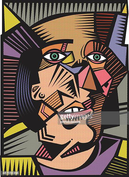 head illustration in a cubist style - pablo picasso stock illustrations