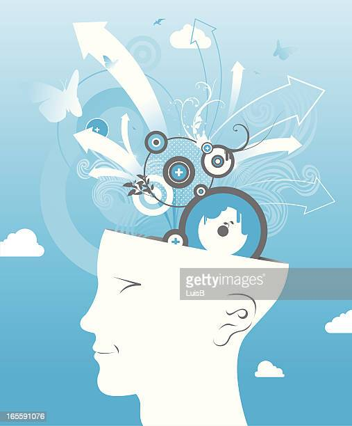 head in the clouds - mental health professional stock illustrations