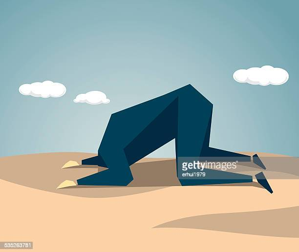 head in the sand - ostrich stock illustrations, clip art, cartoons, & icons