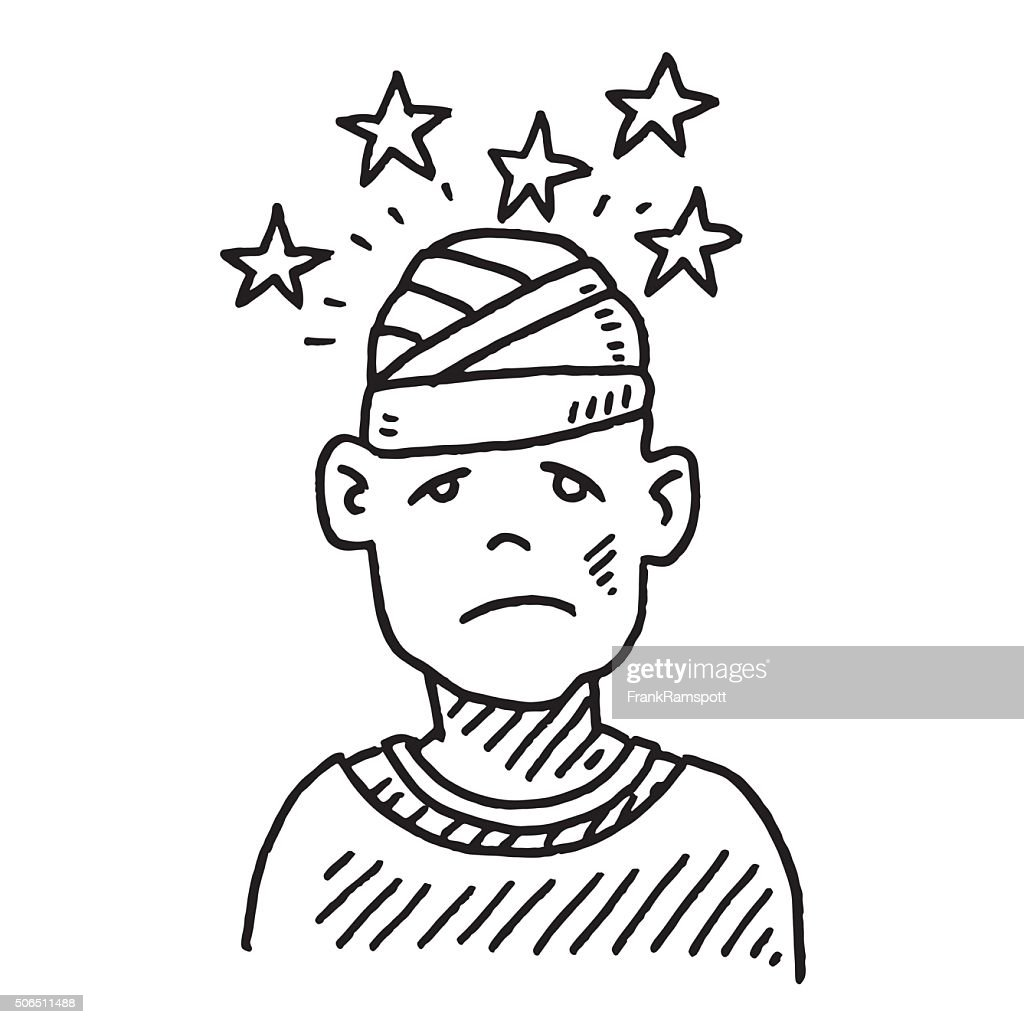 Head Injury Pain Drawing stock vector - Getty Images