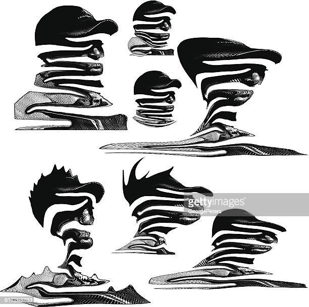 head landscapes - obscured face stock illustrations, clip art, cartoons, & icons