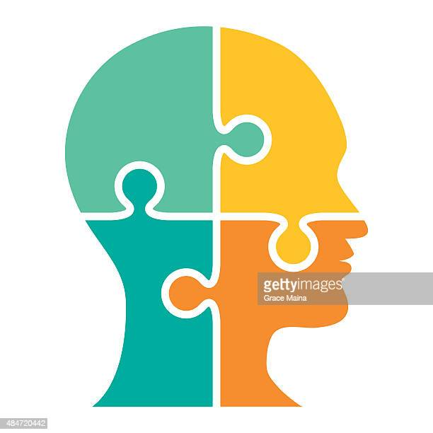 head made of puzzle four pieces - vector - head stock illustrations, clip art, cartoons, & icons