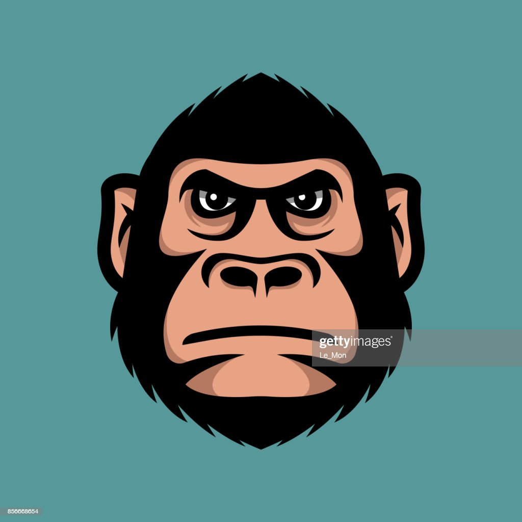 Head monkey illustration. Gorilla head mascot