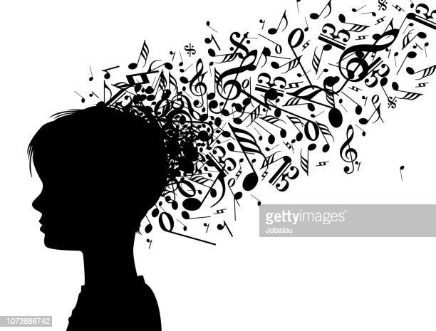 head of a creative musician child - musician stock illustrations, clip art, cartoons, & icons