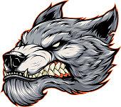 Head of a fierce werewolf wolf