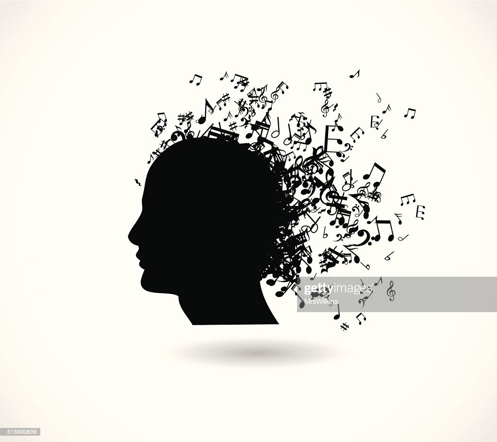 Head of a man with a music notes