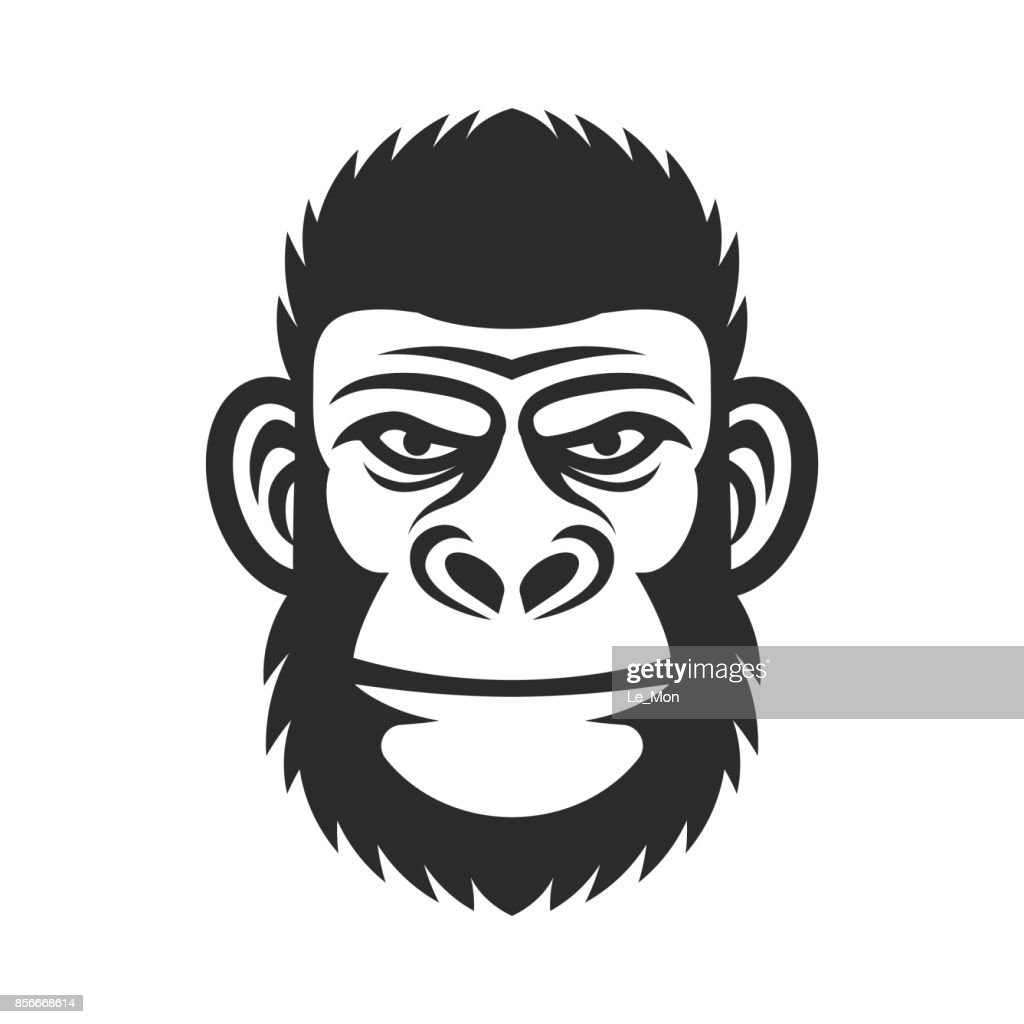 Head of a monkey. Wicked gorilla. Primacy illustration