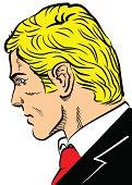 Head of blond man