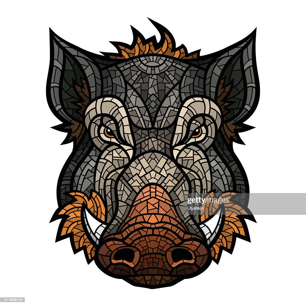 Head of boar mascot color in mosaic style
