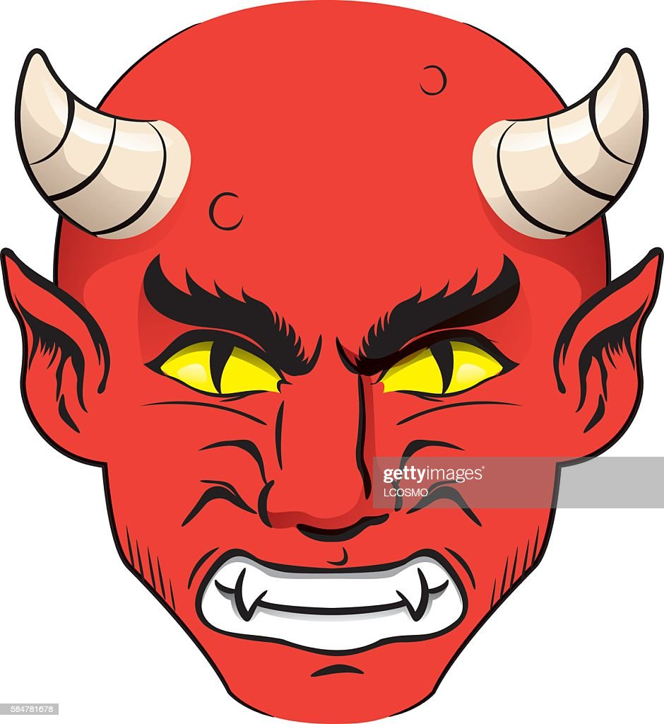 head of demon, red with nervous face with horns, yellow eyes