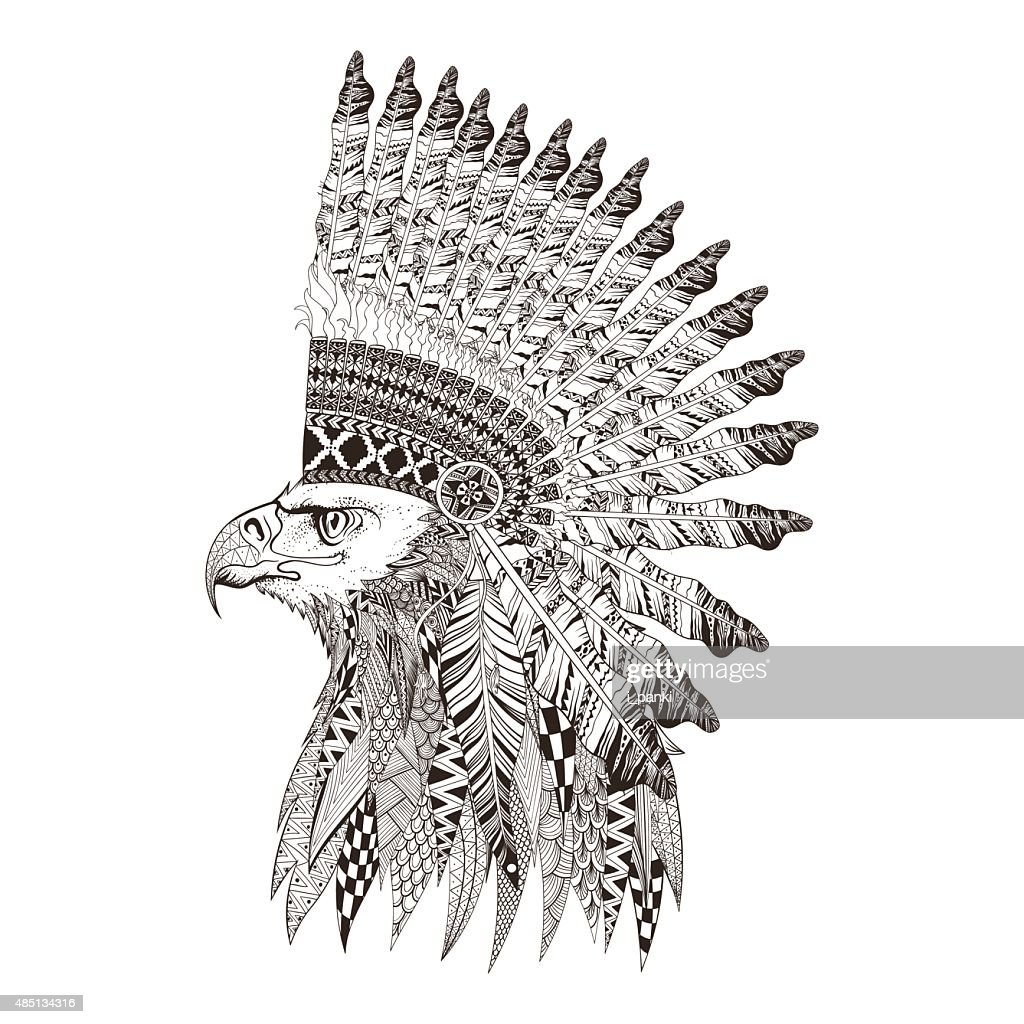 Head of eagle in feathered war bannet.