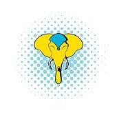 Head of elephant icon, comics style