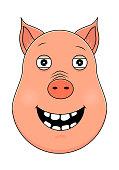 Head of happy pig in cartoon style. Kawaii animal.