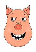 Head of malevolent pig in cartoon style. Kawaii animal.