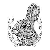 Head of rabbit in wreath.  Hand Drawn doodle