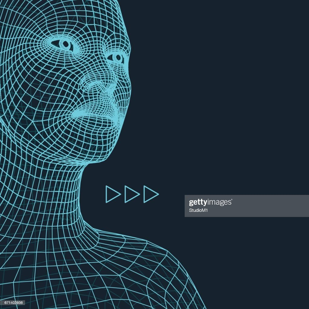 Head of the Person from a 3d Grid. Geometric Face Design. Polygonal Covering Skin.