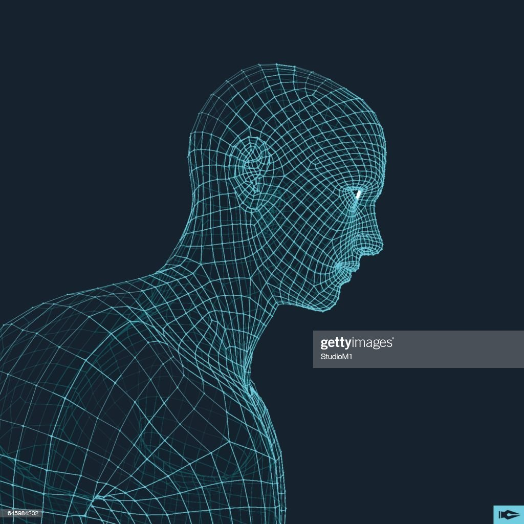 Head of the Person from a 3d Grid. Geometric Face Design.