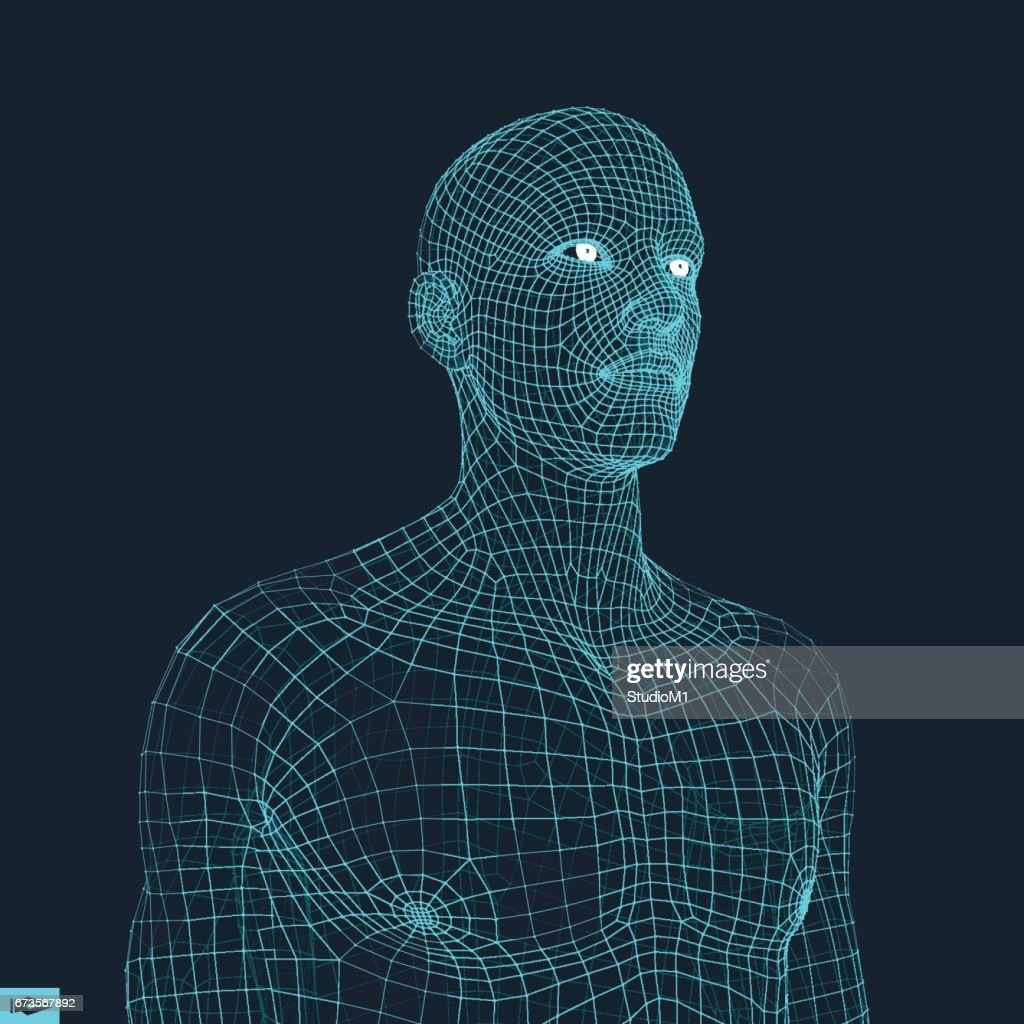 Head of the Person from a 3d Grid. Geometric Face Design. Vector Illustration.
