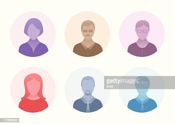 ilustrações, clipart, desenhos animados e ícones de ícones de cabeça pessoas - ombro