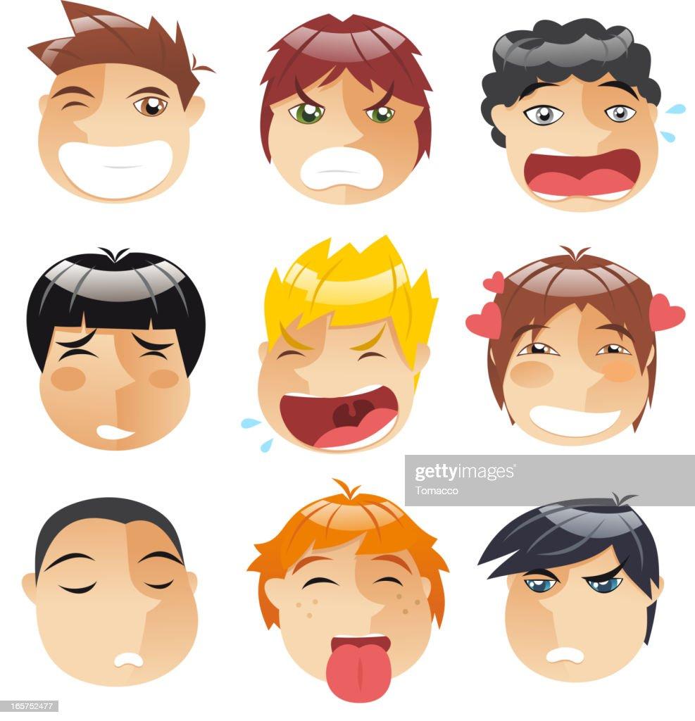Head People Little boys faces Avatar Profile Set