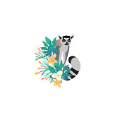 Head portrait of lemur for different design and tattoo. Cartoon style icon of the cute animal face with tropical flowers, leaves.