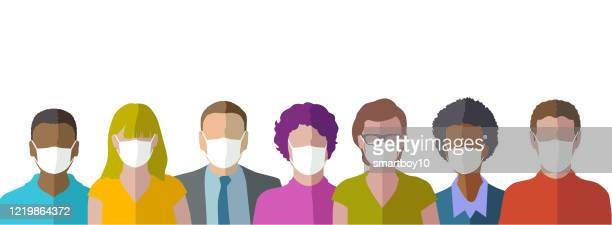 head profile icons with protective masks - citizenship stock illustrations