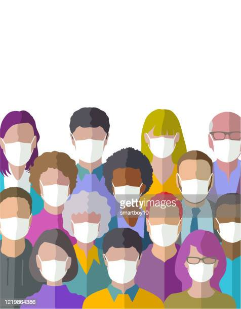 head profile icons with protective masks - prevention stock illustrations