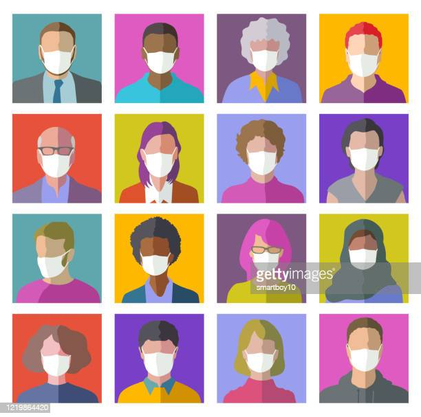 保護マスク付きヘッドプロファイルアイコン - マスク点のイラスト素材/クリップアート素材/マンガ素材/アイコン素材