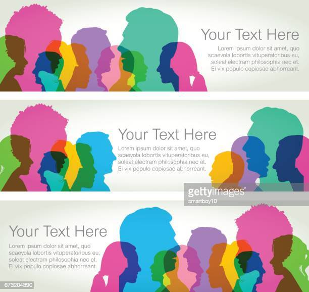 head profiles - horizontal banners - togetherness stock illustrations