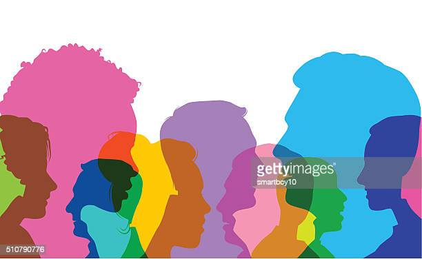 head profiles - togetherness stock illustrations