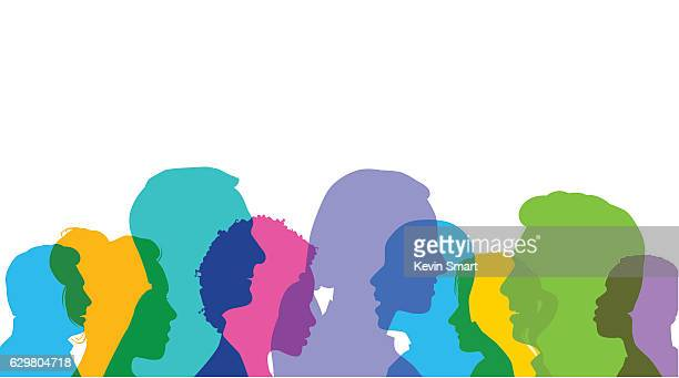 head profiles - diversity stock illustrations